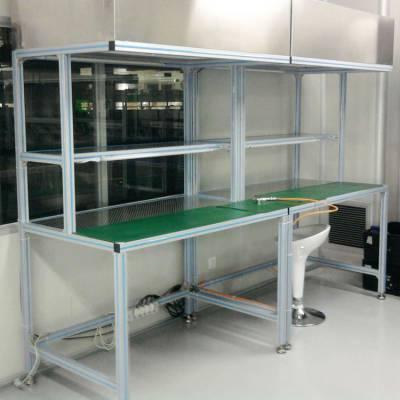 带灯架工作台厂家定做 铝型材防静电工作台 铝合金框架 江苏