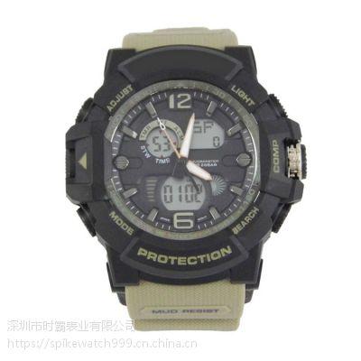手表厂家供应SPIKE新款多功能双机芯电子运动手表
