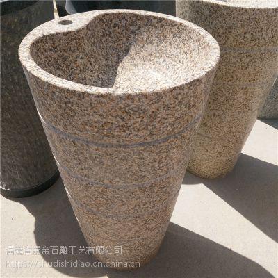福建惠安石雕厂批发一体式落地立式各种石材洗手盆 庭院景观摆件