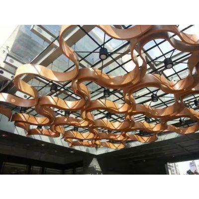 帝欣厂家定制 新吊顶弧形铝方通白色木纹弧形铝方通厂家直销