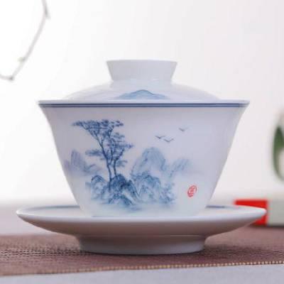 珐琅彩瓷粉彩扒花三才盖碗茶杯 定做设计功夫茶具盖碗泡茶碗