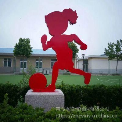 钢板平面人物雕刻 足球人物铁艺雕塑