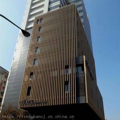 商场外墙立面,木纹铝方管生产厂家,木纹铝方通