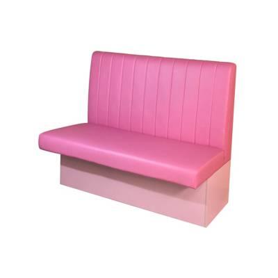 网红饮品店粉红色板式卡座沙发