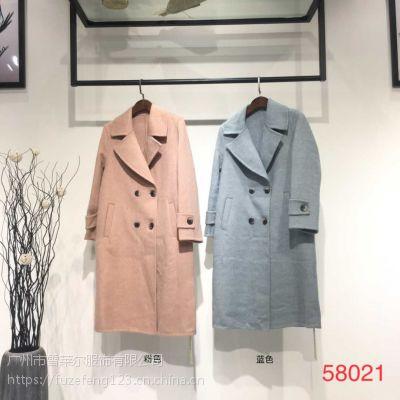杭州时尚女装纯冬装阿尔巴卡大衣工厂直销库存批发