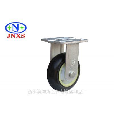 厂家直销 京南橡塑 5寸黑色塑芯弹力胶橡胶脚轮万向定向刹车轮