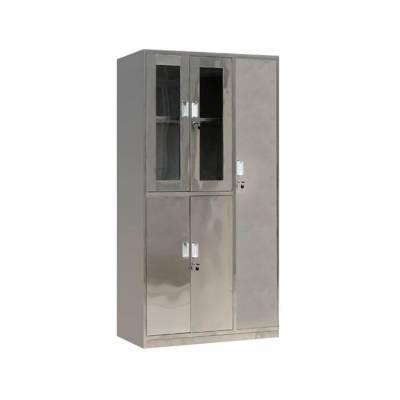 熊猫牌201不锈钢更衣柜 定制员工储物柜碗柜鞋柜浴室无尘车间不锈钢柜子