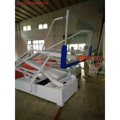 湖北仙桃学校可升降定制篮球架采购 成人室外标准埋地式篮球架子生产厂家图片