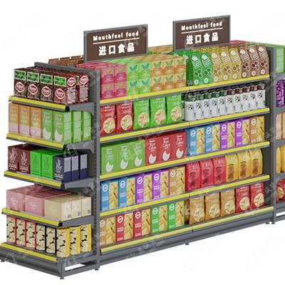 超市货架化妆品展示柜母婴店药店服装店展示架中岛货柜钢木单双面-惠诚货架