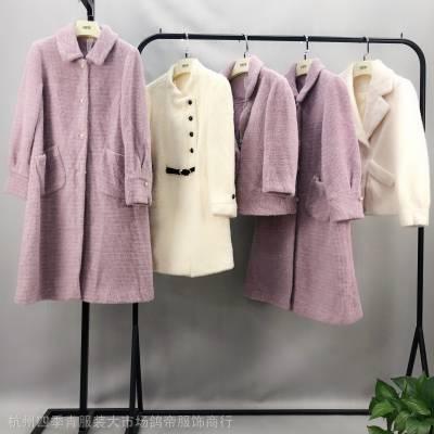 黄金貂加颗粒绒大衣冬季新品 品牌折扣女装微商货源代理进货渠道
