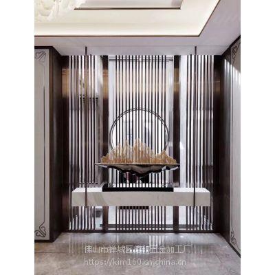 欧式屏风定制厂家 金属铝雕屏风 酒店金色镜面雕花背景隔断