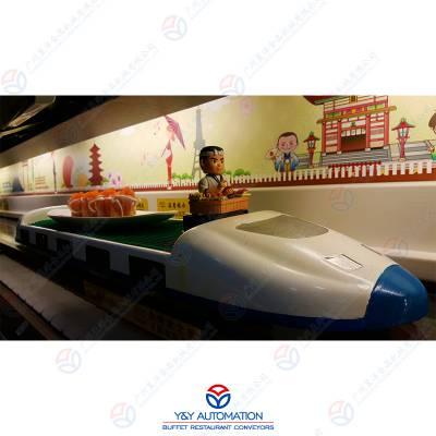 全自动轨道送餐车设备_定位输送有轨列车送餐设备_广州昱洋智能餐饮定制