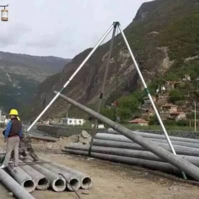 轻便分节三脚架立杆机 管式立杆器 15米起杆机 铝合金抱杆扒杆