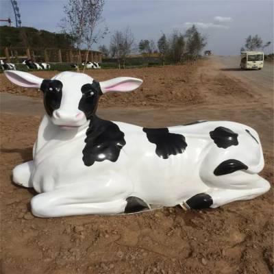 广东仿真奶牛雕塑 农场户外装饰玻璃钢动物雕塑厂家