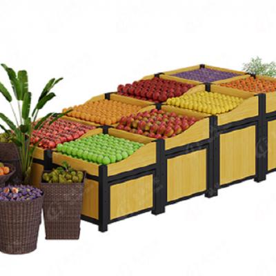 惠诚木质高档水果货架展示架 超市蔬菜果蔬架 水果店百果园水果货架 超市蔬菜水果钢木货架中岛 展示置物