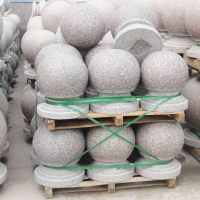 大理石圆球 直径40厘米芝麻灰挡车球批发