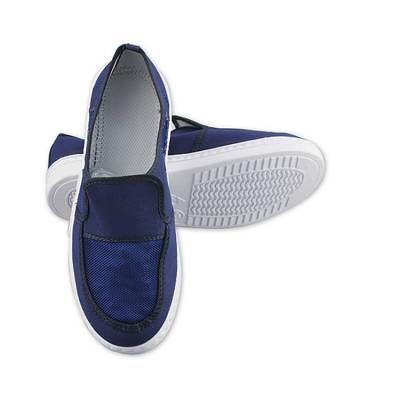 SPU底帆布无魔术贴网面鞋 防滑工作鞋 防静电网面鞋蓝色无尘车间洁净鞋男女防护鞋