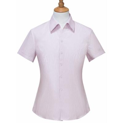 贵州女衬衣,商务衬衫,行政夏装批发,QDV-208粉红色竖条纹天丝棉V字领韩版休闲短袖女衬衣