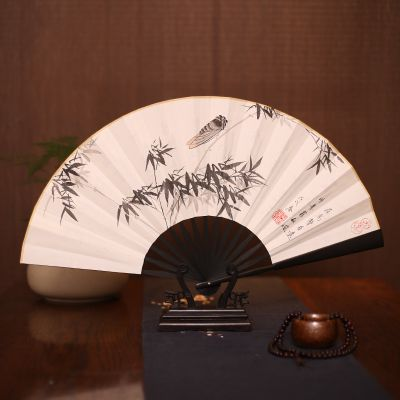 扇子中国风书画男扇子手绘山水折扇厂家专业定制 仿乌木竹扇礼品宣纸扇定做