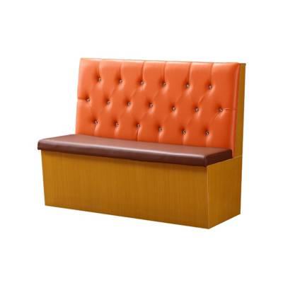 水晶拉扣造型板式茶餐厅卡座沙发