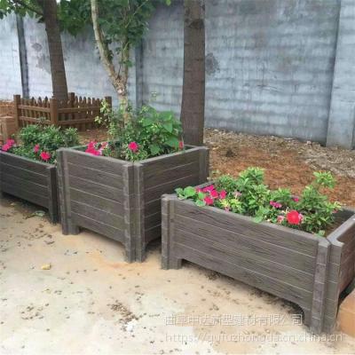 户外水泥仿木花箱花钵 钢筋混凝土仿木花桶