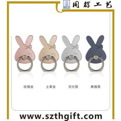 手机指环定做 金属电镀兔子造型手机指环 来图稿厂家设计定做