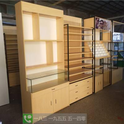 阳泉市快时尚眼镜展示柜 铁艺木纹色眼镜店货架 眼镜玻璃展柜中岛柜
