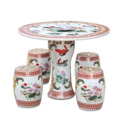 景德镇陶瓷桌凳精品定制 瓷桌瓷凳 一桌四凳陶瓷工艺品
