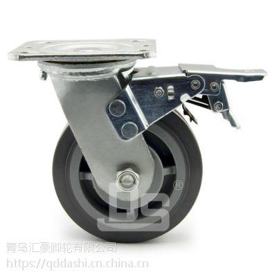 青岛大世静音脚轮 重型塑料芯静音TPE脚轮 载重200-260kg