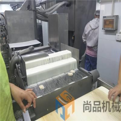 供应酥脆海苔挂糊设备 芝麻海苔油炸生产线 可来公司考察试机