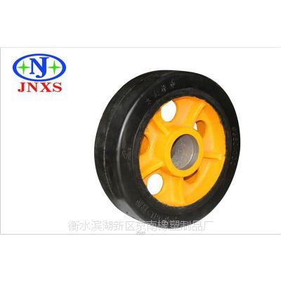 脚轮厂家直销 京南橡塑 6寸重型A1平板圆孔橡胶单轮