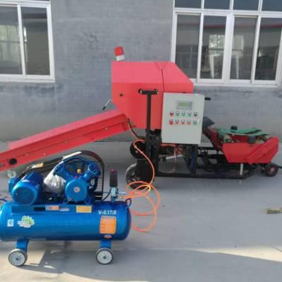 输送带上料用打捆包膜机 润丰 麦秆玉米杆自动包膜机