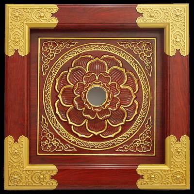 寺庙吊顶佛龛宗祠吊顶艺术彩绘古建天花装饰