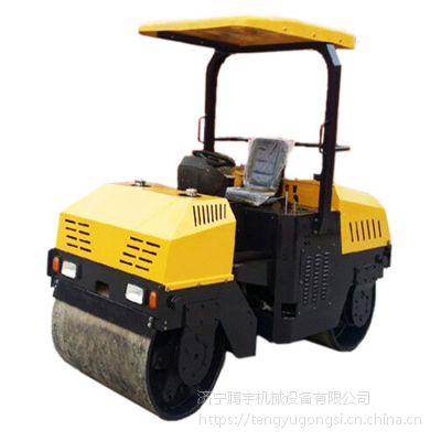 供应座驾式振动汽油压路机腾宇机械3吨半单钢轮座驾压路机 轮胎压路机厂家
