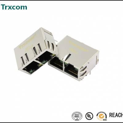 供应1*2集成百兆变压器RJ45插座 屏蔽带灯 卧式90度插板型网口