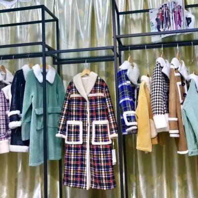 品牌女装颗粒绒皮毛一体大衣大衣尾货批发市场直播