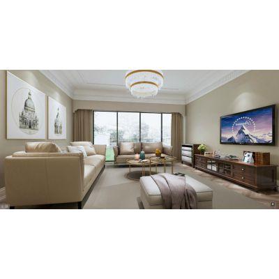 棕榈泉悦江国际大平层装修设计方案|现代美式装修效果图