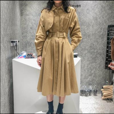 广州天马时装批发中心 19秋季新款气质成熟风衣外套中长款修身显瘦法式长袖连衣裙子女 服装加盟商