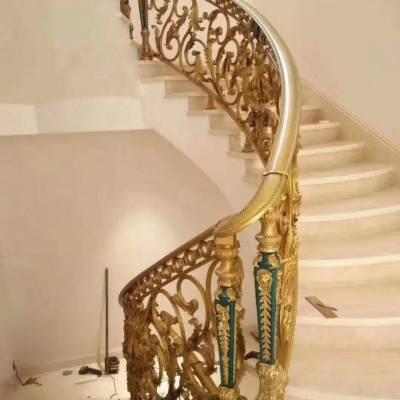 专业打造纯铜雕花楼梯护栏镀金别墅酒店专用铜艺艺术护栏