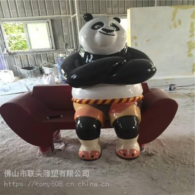 仿真功夫熊猫造型玻璃钢雕塑-联尖雕塑
