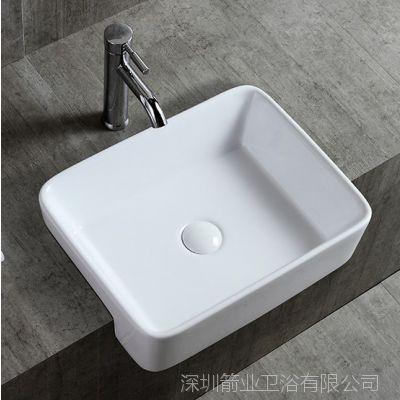 惠达半嵌入式台上盆洗脸盆卫生间洗手盆方形圆形陶瓷洗面盆半挂盆