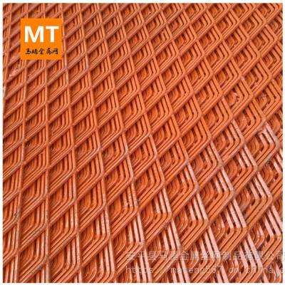 加厚钢板网 重型钢板网 脚踏 红色油漆钢笆网